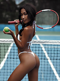 Horny Ebony Model SalsaQ Playing Tennis in Tiny White Bikini